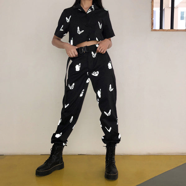 Elastic high waisted bowknot ankle-tied pants