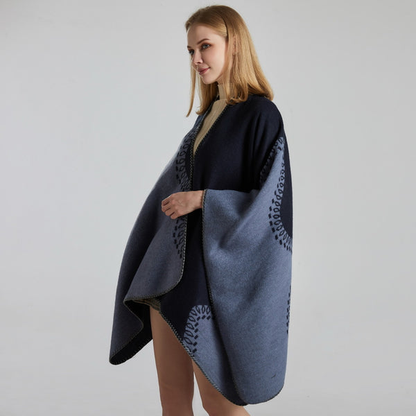 Jacquard thick color block shawls