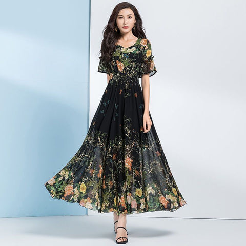 Ruffled floral shirred waist maxi dresses