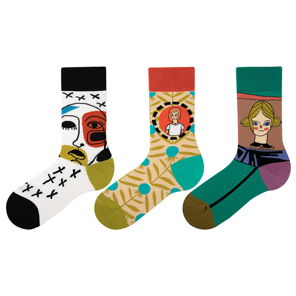 5 pairs hit color print ankle socks