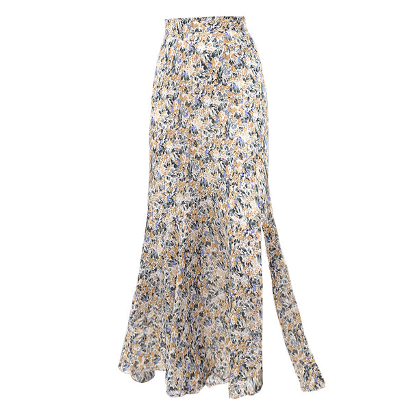 Retro side slit floral skirts