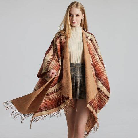 Plaid knit eyelash edge scarves