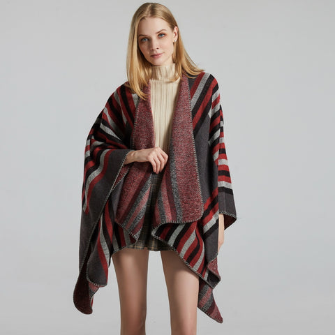 Color block striped faux cashmere shawls