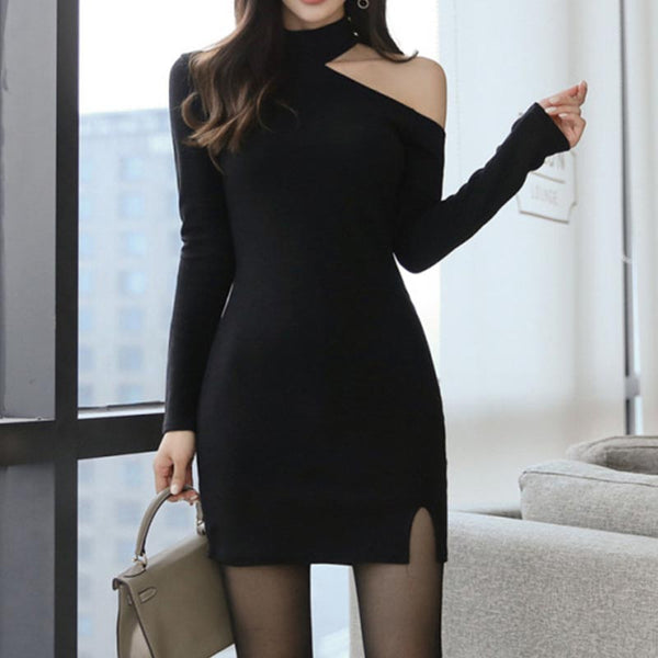 Sexy solid halter neck knitted bodycon dresses