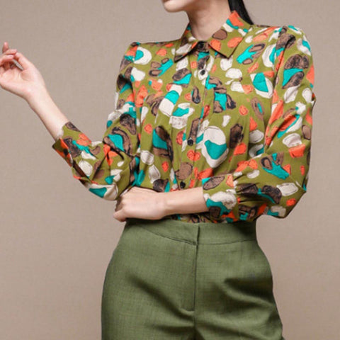 Lapel print single-breasted blouses