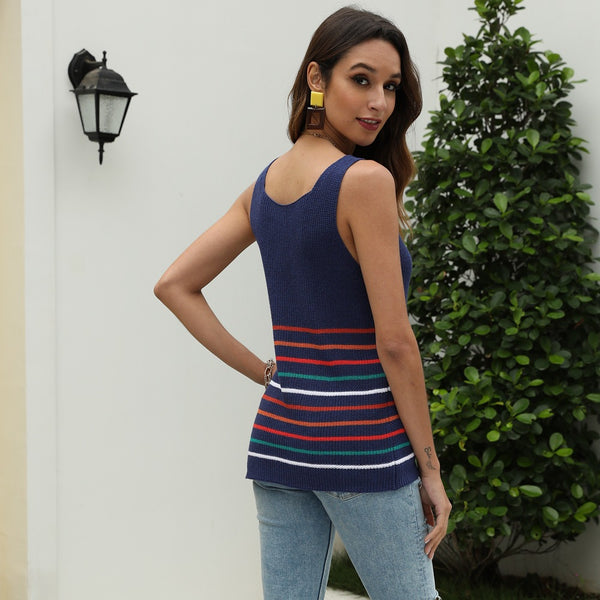 V-neck striped knitted casual camisoles