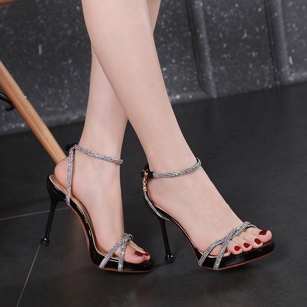 Rhinestone metal buckle platform sandals