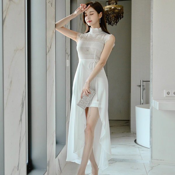 Irregular mock neck tie waist chiffon dresses