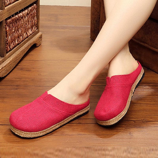 Closed toe linen flat slippers