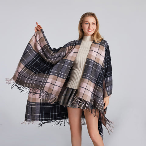 Jacquard plaid eyelash edge scarves