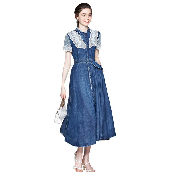 Retro lace patchwork gathered waist denim dresses
