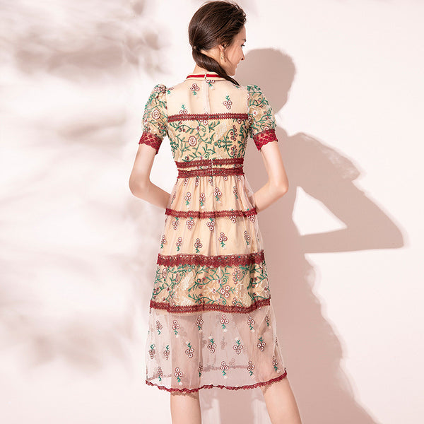 Tie front embroidered floral mesh cake dresses