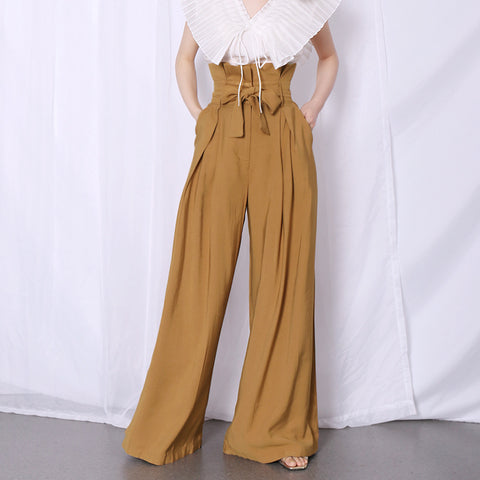 Paper waist high waisted wide leg pants with pockets