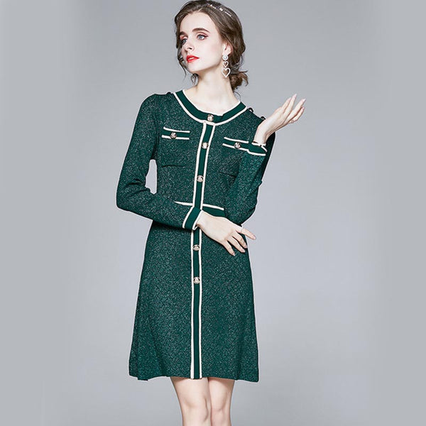 Crew neck sweater dresses with buttons