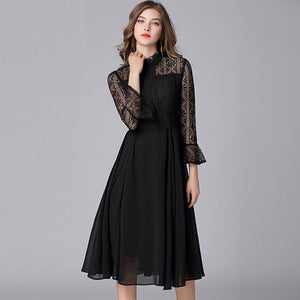 Ruffled collar lace openwork midi dresses