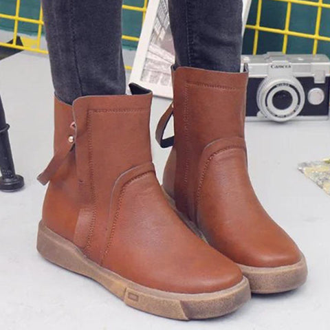 PU leather zipper non-slip winter ankle boots