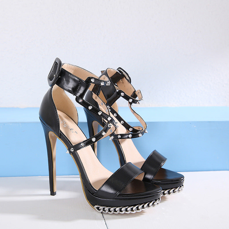 Punk style pointed high heel sandals