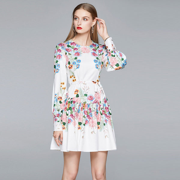 Lantern sleeve floral high waisted a-line dresses