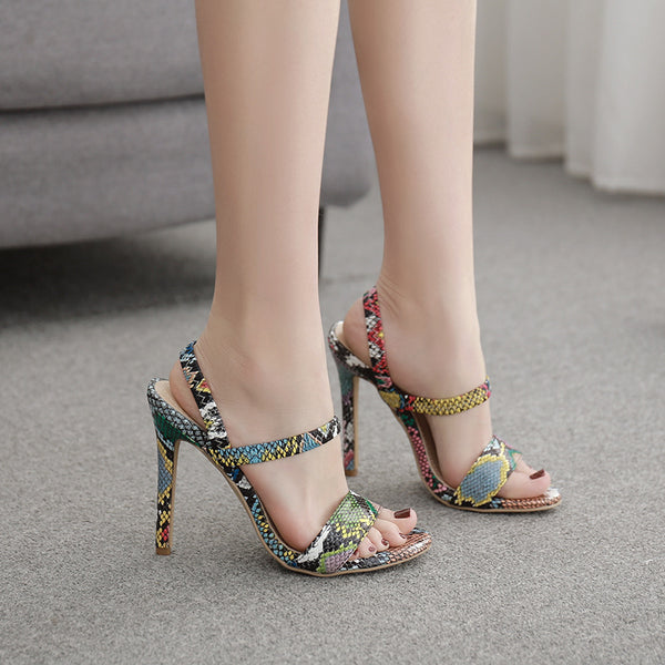 Round toe snake print sandals