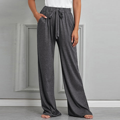 High waisted drawcord floor-length wide leg pants