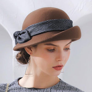 Bowknot solid wollen curled hats