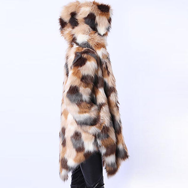 Hooded asymmetric faux fur coats - Fancyever