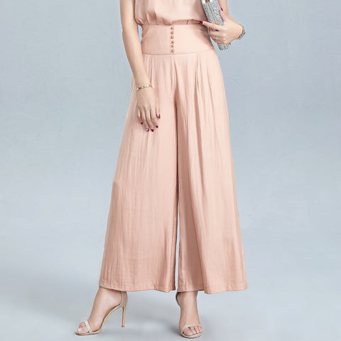 Solid button-front wide leg pants