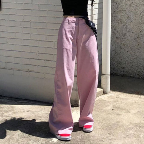 Pink high waisted wide leg pants