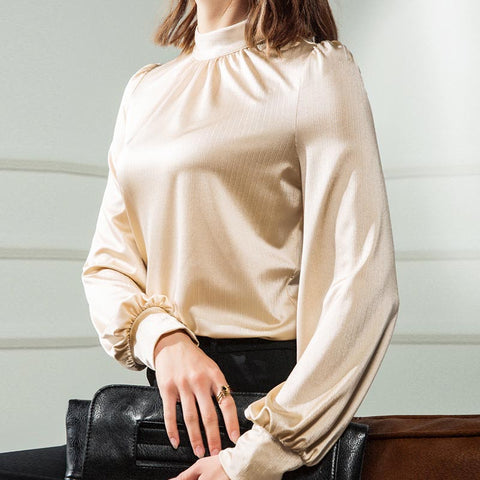 Half-collar smooth soft basic blouses