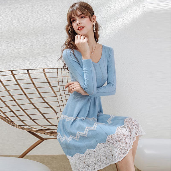 V-neck long sleeve pleated sweater dresses