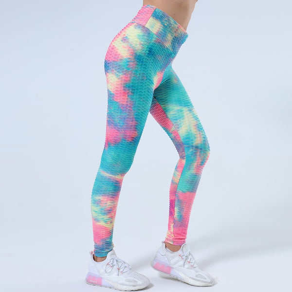 High waisted tie-dye active pants