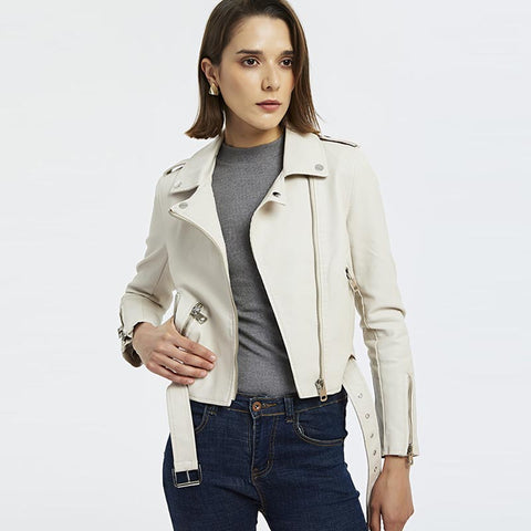 Belted washed leather moto jackets - Fancyever