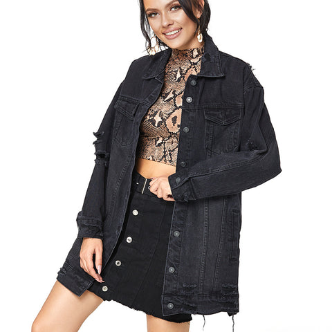 Lapel ripped denim jackets