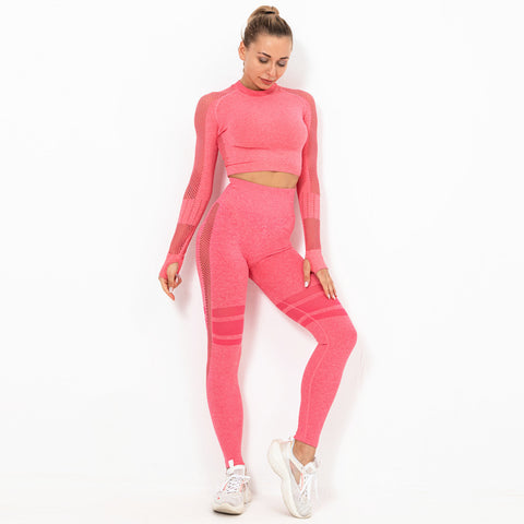 Crew neck knit active tops & active pants