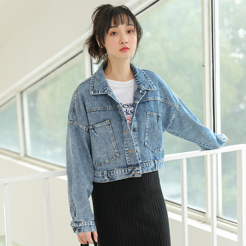 Turn-down collar tied denim jackets