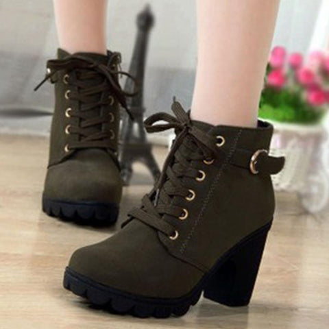 Lace-up PU leather blocked heel ankle boots
