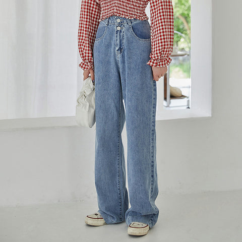 Double buttoned high wasited straight jean pants