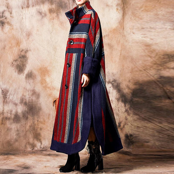 Striped stand collar side-slit coats