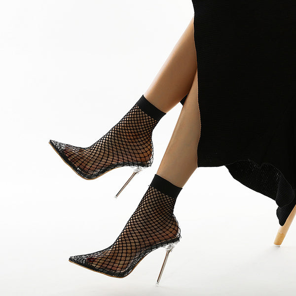 Pointed toe mesh transparent sandals