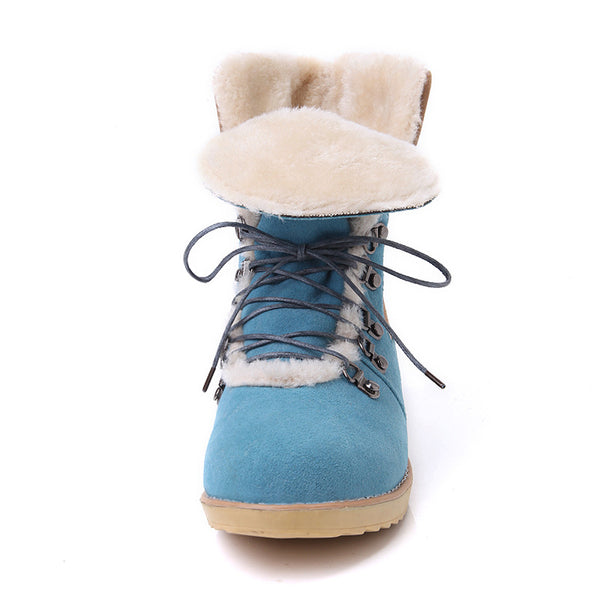Stylish cold resistant patchwork fur snow boots