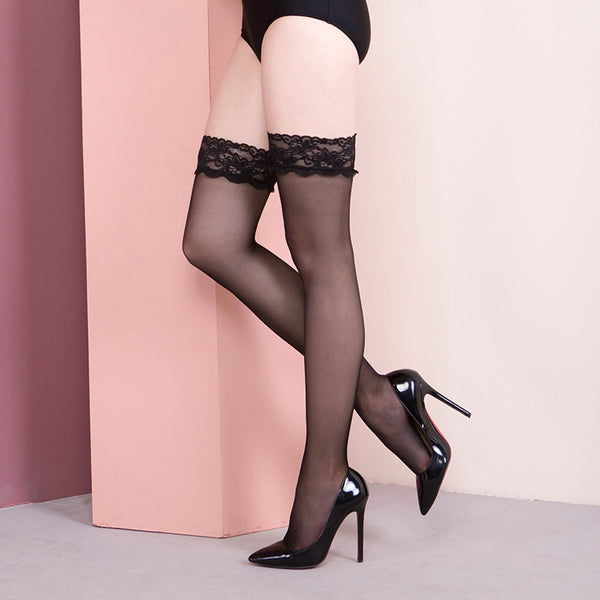 Lace top thigh high stockings