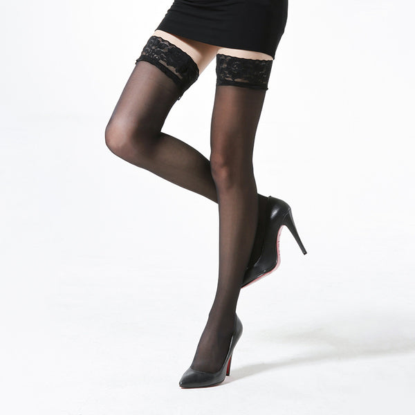 Lace top silk thigh high stockings