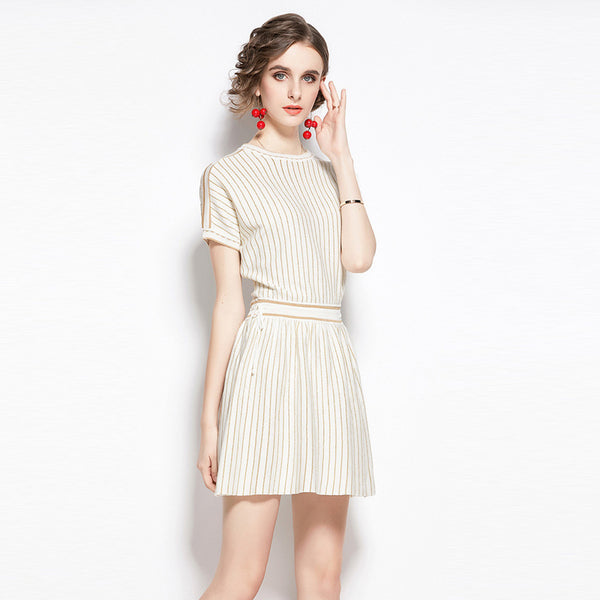 Striped shiny stretchy knitted dresses