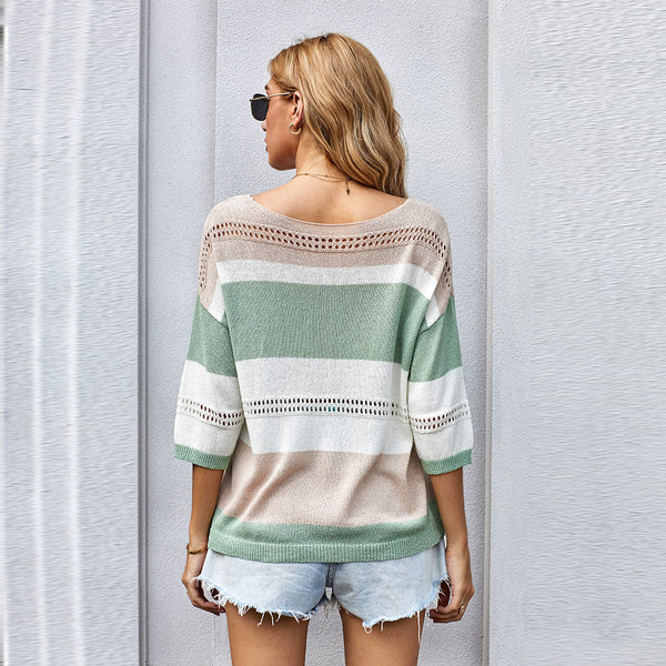 V-neck color-blocked pullover openwork sweaters