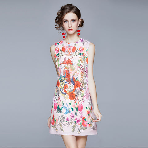 Crew neck floral shift dresses