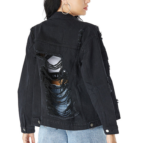 Ripped cut out back denim jackets