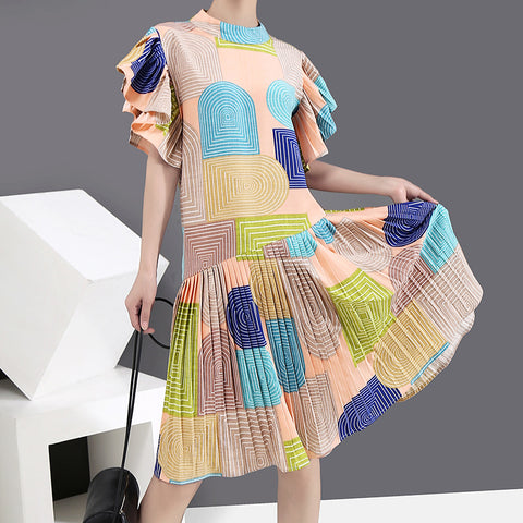 Color block pleated ruffle flare sleeve shift dresses