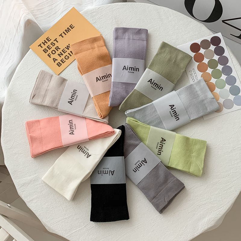10 pairs solid color ankle socks