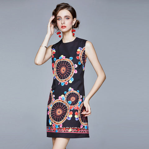 O-neck print sleeveless dresses