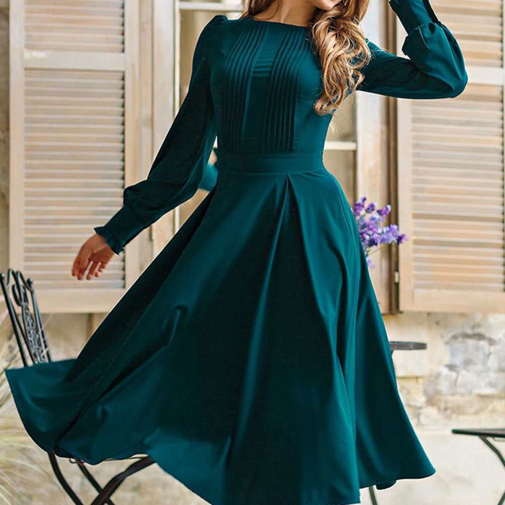 Crew neck puff sleeve midi dresses